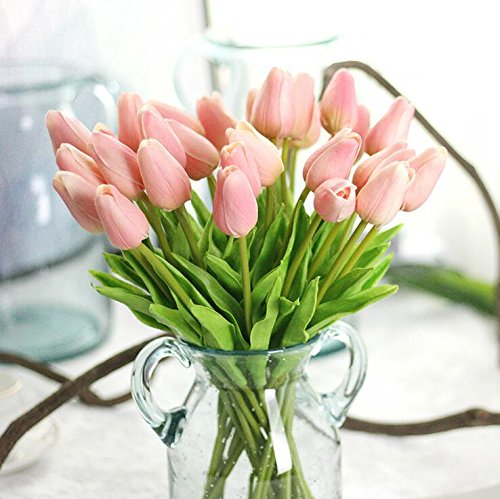 Supla Artificial Flowers 20 Heads Real Touch Tulips PU Tulips Fake Flowers Arrangement Wedding Bouquets Home Room Office Centerpiece Party Wedding Decor(Pink)(vase not - Flower Tulip Pink