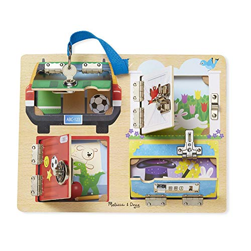 Melissa & Doug Locks & Latches Board Wooden Educational Toy (Sturdy Wooden Construction, Helps Develop Fine-Motor Skills) by Melissa & Doug (Image #2)