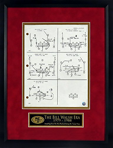 "SF 49ers Authentic Playbook Page Display (w/ ""The Bill Walsh Era"" Plate) Framed"