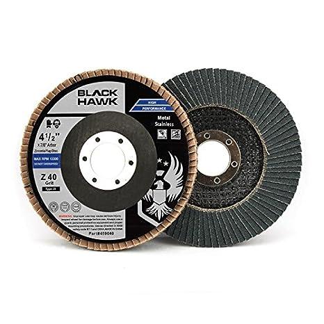 10 Pack 4-1//2 x 7//8 Black Hawk Zirconia Grinding /& Sanding Flap Discs T29 80 Grit