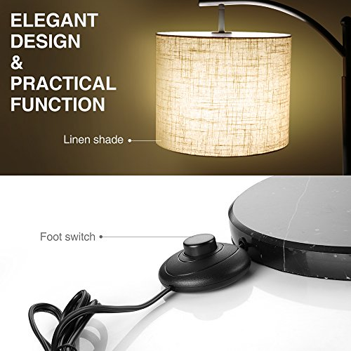 Zanflare LED Floor Lamp-Classic Arc Floor Lamp with Hanging Lamp Shade, Uplight Lamp for Living Room,Bedroom,Den Office, Energy Saving Bedside Lamp with Long Lasting,Black by Zanflare (Image #7)