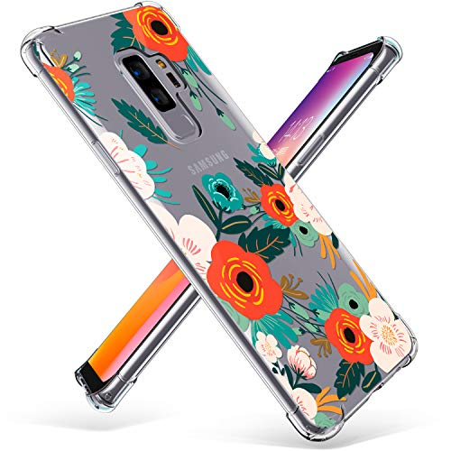Samsung Galaxy S9 Plus Case, GVIEWIN Slim Flora Clear Case Shock Absorption Technology Bumper Soft TPU Cover for Galaxy S9 Plus (Floral Blooming)
