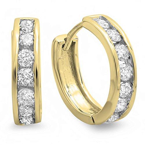 Dazzlingrock Collection 0.50 Carat (ctw) 10K Round Diamond Ladies Mens Unisex Huggie Hoop Earrings 1/2 CT, Yellow Gold ()