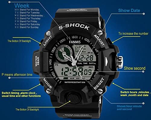 Mens Analog Digital Dual Display Sports Watches Military Multifunctional 50M Waterproof LED Watch with Alarm Stopwatch Backlight 12H 24H Outdoor Running Swimming