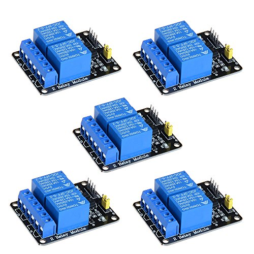 Anmbest 5PCS 2 Channel 5V 10A Relay Module with Optocoupler Low Level Trigger Expansion Board for Raspberry Pi Arduino UNO R3 MEGA 2560 1280 DSP ARM PIC AVR STM32