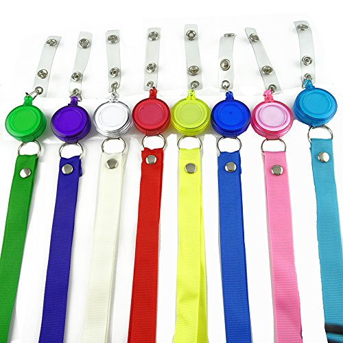 (Honbay 8 Pieces Translucent Retractable Badge Holder Reel Key Chain Reel with Lanyard Neck Strap for Key Cards and ID Cards)