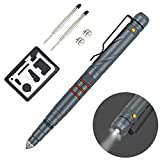 Aotedor EDC Tactical Pen Flashlight - Window Glass Breaker, Ballpoint Pen + 2 Ink Cartridges + 2 Batteries - Gray