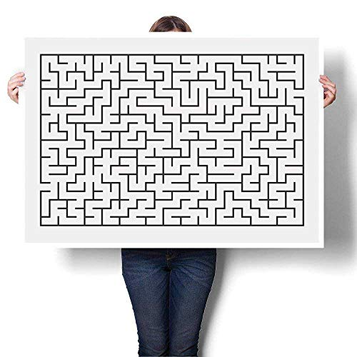 "SCOCICI1588 Canvas Wall Art Romantic Oil Painting Vector of Maze Labyrinth Isolated on White Background eps Oils,32"" W x 20"" L Prints on Canvas Painting(Frameless)"