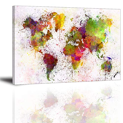 World Stretched Canvas - World Map Wall Art for Living Room, PIY Modern Watercolor Splash Map of The World Canvas Prints, Colorful Decor Stretched with Frame (1