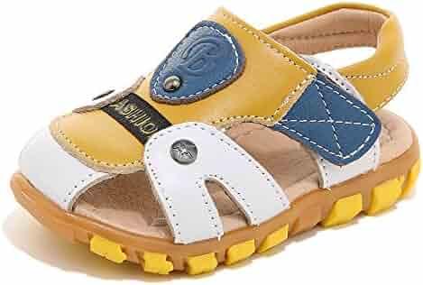 ba6a9959d16 HOBIBEAR Toddler Boys Sandals Closed Toe Leather Strap Sport Shoes (Toddler Little  Kid)
