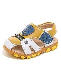 HOBIBEAR Boy's Girl' GU2579 Closed-Toe Leather Sport Sandal(Toddler/Little Kid)
