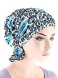 Abbey Cap Womens Chemo Hat Beanie Scarf Turban Headwear for Cancer Ruffle Blue Rose Leopard