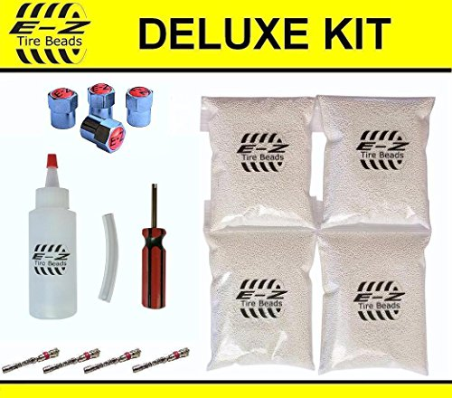 (E-Z Tire Balance Beads Deluxe Kit Light Truck 6 oz Four-Pack (4 Bags of 6 oz Balancing Beads) 24 Ounces Total, Applicator Kit, Filtered Valve Cores, Chrome)