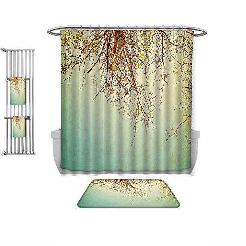 QINYAN-Home Print Bathroom Rugs Shower Curtain Nature Vintage Tree Flower Branches with Spring Blooms Fresh Leaves Print Ginger Mint and Light Green, Rug& Shower Curtain Bath Towel-Multiple Sizes