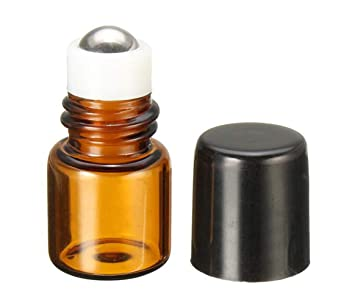 b5f96092da35 1mL Empty Amber Glass Roll on Bottle Refillable Metal Roller Ball Essential  Oil Liquid Bottle Vial Container for...