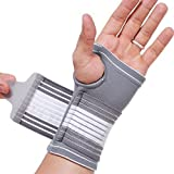 NEOtech Care (TM) Hand Palm Brace, Thumb Support, Band, Sleeve - Elastic & Breathable - Adjustable Compression Strap - Gray Color - Size S - Package contains 1 unit