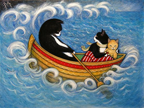 The Rescue. Tuxedo and Ginger Tabby Cats on a Stormy Sea handmade 8x10 print (Tabby Cat Tuxedo)