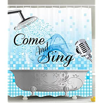 Amazon.com: Funny Shower Curtain Sing Along Inspirational Quotes ...