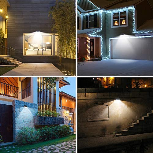 Aootek New sun lighting 120 Leds upgraded with lighting reflector,270° Wide Angle, IP65 Waterproof, Easy-to-Install Security Lights for Front Door, Yard, Garage, Deck(4pack)