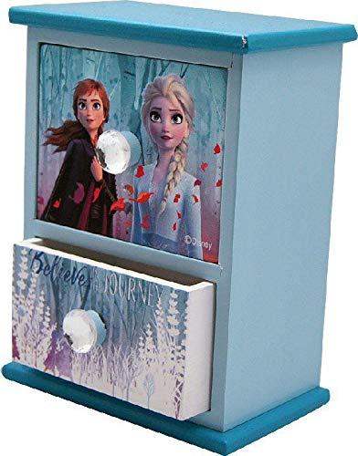 Articoli per la casa Decorazione Festiva Unisex Portagioie in Legno con Due cassetti e 2 organizzatore di Gioielli per Armadio per Adulti Multicolore Disney Frozen Unico Multicolore