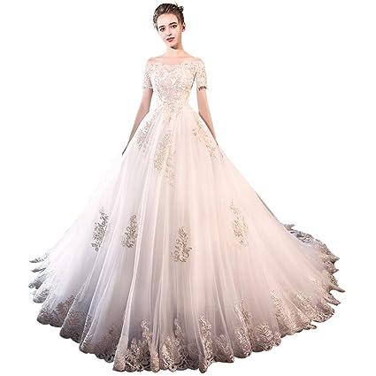 b6e236d40 Vestido de novia Sin Tirantes de Manga Corta Cola Larga Corte Europea y  Americana Vestido de