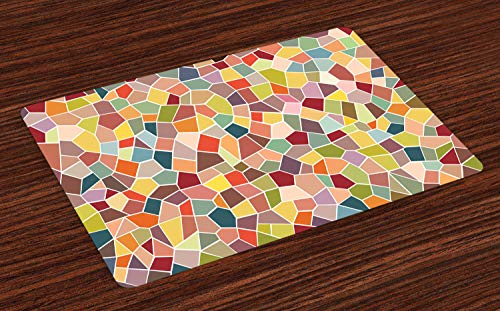 (Ambesonne Colorful Place Mats Set of 4, Motley Geometrical Mosaic with Retro Effect Vivid Stained Glass Design Ornament, Washable Fabric Placemats for Dining Room Kitchen Table Decor, Multicolor)