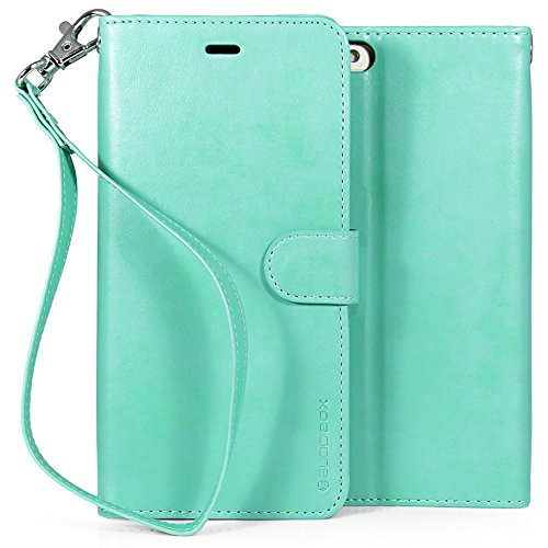(BUDDIBOX iPhone 6s Plus Case, [Wrist Strap] Premium PU Leather Wallet Case with [Kickstand] Card Holder and ID Slot for Apple iPhone 6S / 6 Plus, (Teal))