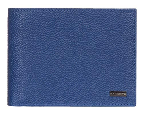 Leather Logo Plaque - Dolce & Gabbana Blue Pebbled Leather Logo Plaque Crown Print Bi Fold Wallet