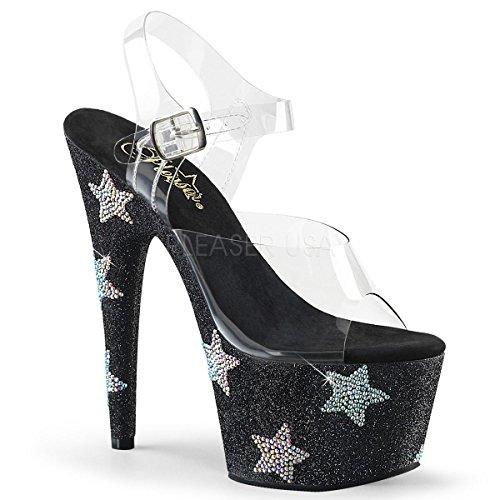 Pleaser PleaserADORE-708STAR - Adore-708star Para mujer Clr/Blk Glitter-abrs