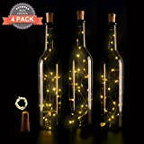 [Pack of 4] Led Bottle Cork Lights, 30in(75cm) Copper Wire String Lights with 15 Warm White Led bulbs for Bottle DIY Decor, Outdoor BBQ, Gathering, Party, Wedding, Holiday