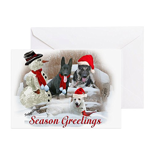 CafePress - German Shepherd Christmas Sce Greeting Cards (Pk O - Greeting Card (20-pack), Note Card with Blank Inside, Birthday Card Matte ()