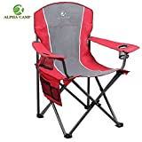 ALPHA CAMP Heavy Duty Folding Arm Chair Oversized Camping Chair Portable Padded Chair Lumbar Back Support 350 LBS - Red/Grey