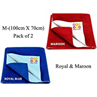 BeyBee Waterproof Baby Bed Protector Dry Sheet for New Born Babies Gifts Pack, (Medium Combo of 2, Royal Blue/Maroon)