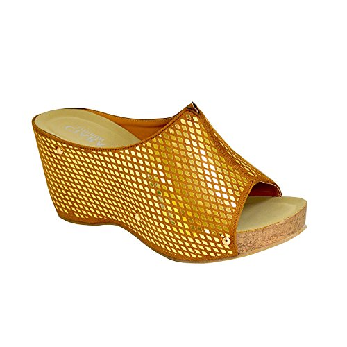 Ciara Women's London yola Shiny Slip-On Wedge Mule Sandals Gold