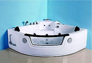 SDI Factory Direct 2 Person Corner Hydrotherapy Whirlpool Bathtub Spa Massage Therapy Hot Bath Tub w/Heater. LED Lights, Bluetooth, Remote Control - SYM621B
