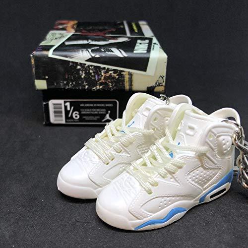 Pair Air Jordan VI 6 Retro White UNC Blue OG Sneakers Shoes 3D Keychain 1:6 Figure + Shoe Box