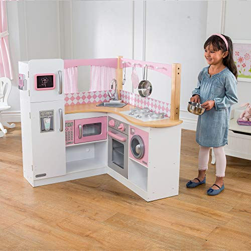 KidKraft Grand Gourmet Corner Wooden Play Kitchen with Washer, Chalkboard, Curtains and 4 Accessories, Gift for ages 3+