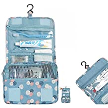 Itian Portable Wash Bag for Travel Folding Make up Toiletry Bags Cosmetic Bags Travel Bag Hanging Personal Organizer Bag (Light Blue Flower)