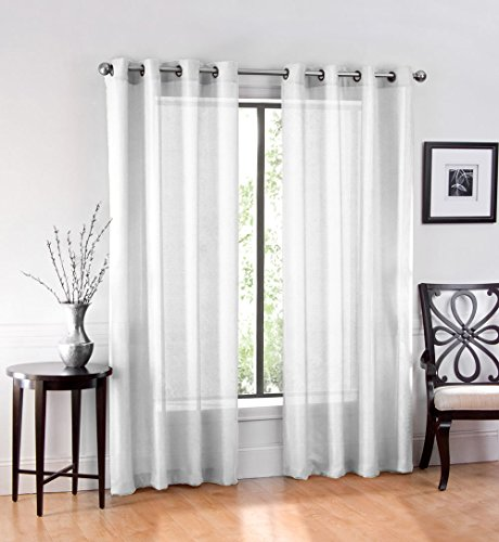2 Pack: GoodGram Ultra Luxurious High Woven Elegant Sheer Grommet Curtain Panels – Assorted Colors (White)