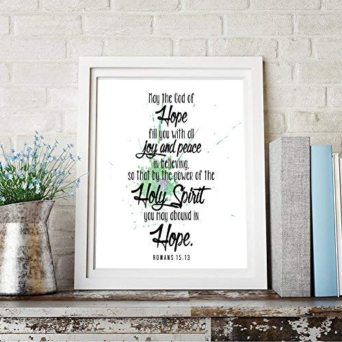 Romans 15:13 Bible Quote Inspirational Quote Wall Art Print Home Decor