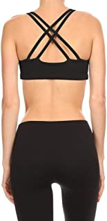 product image for Solid Black Women's Double Criss Cross Sports Bra