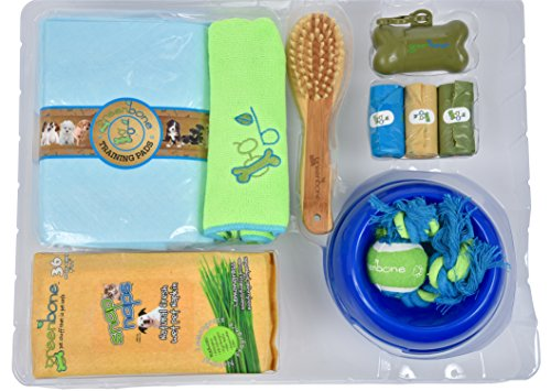 Greeenbone Puppy Starter Kit Equipped with all Essential Pet (Bamboo Dog Plush Toy)