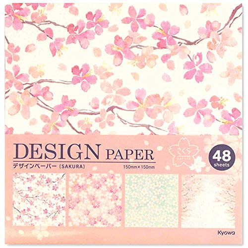 Beautiful Japanese Origami Paper (a.k.a. Chiyogami), Each Contains Four Different Designs, Made in Japan, Sakura(Cherry Blossoms), -
