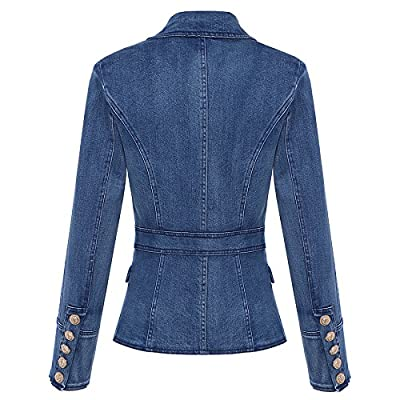 2019 Designer Blazer Women's Metal Lion Buttons Double Breasted Denim Blazer Jacket
