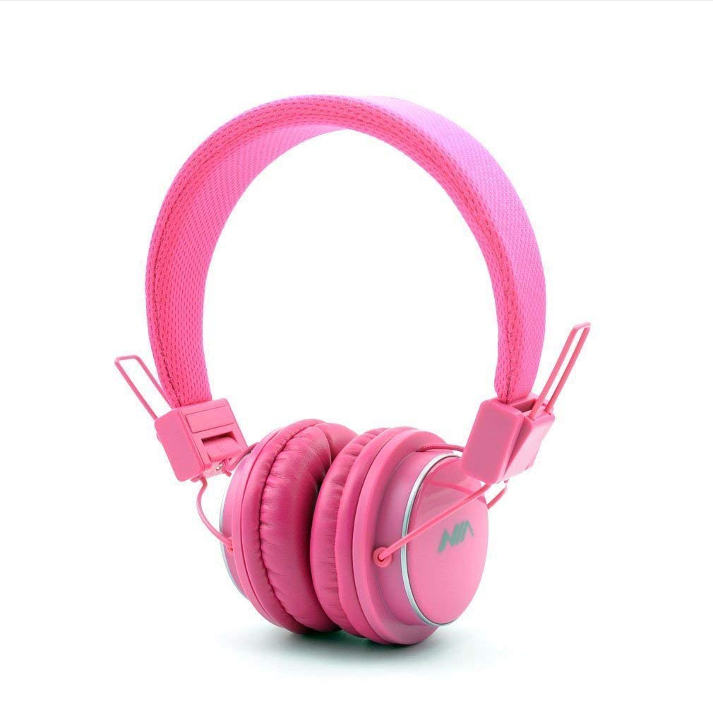 GranVela Q8 Wireless Headphones Lightweight Foldable Steoro Headset with FM Radio,MicroSD TF Card Mp3 Player and 3.5mm Detacheable AUX Cable,for Ipad,iPhone and Andoid Smartphones.-Pink