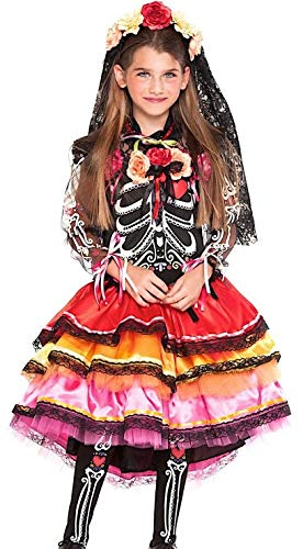 Italian Made Girls Deluxe Day of the Dead Sugar Skull Halloween Carnival Fancy Dress Costume Outfit (6 years)]()