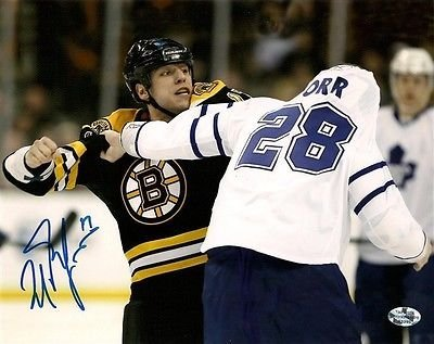Milan Lucic Boston Bruins signed 16x20 fight Colton Orr