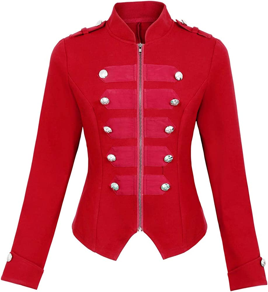 Womens Military Blazer Buttons Decorated Zipper Front Jacket Coat KK464