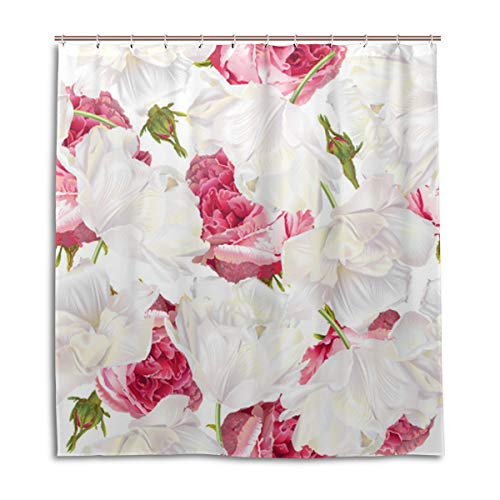 Amanda Billy Blooming Roses are Very Green Natural Home Shower Curtain, Beaded Ring, Shower Curtain 72 x 72 Inches, Modern Decorative Waterproof Bathroom Curtains