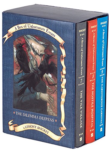 The Dilemma Deepens: A Box of Unfortunate Events, Books 7-9 (The Vile Village; The Hostile Hospital; The Carnivorous Carnival) (A Series Of Unfortunate Events Neil Patrick Harris)